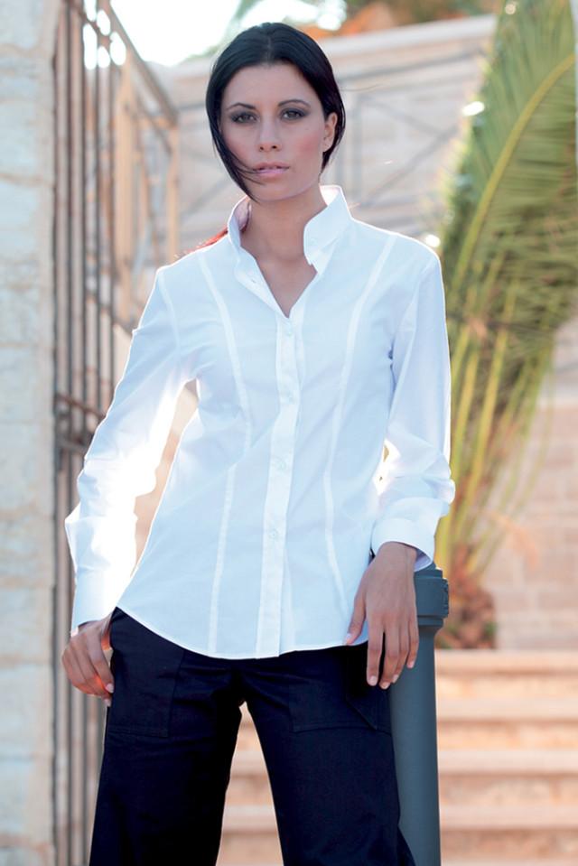 Camicia Donna Collo Coreano Maniche Lunghe